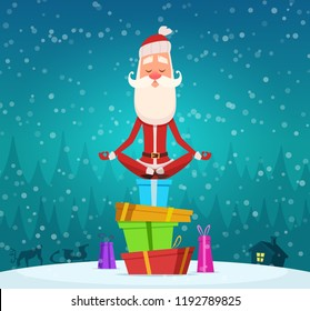 Santa relax meditation. Winter christmas holiday character santa claus doing yoga exercices outdoor vector mascot design. Illustration of santa claus yoga sit on gifts pile
