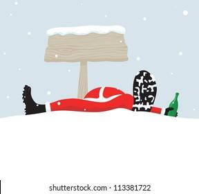 Santa relaxing under signboard
