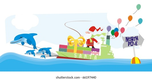 Santa riding a container ship pulled by dolphins color vector cartoon