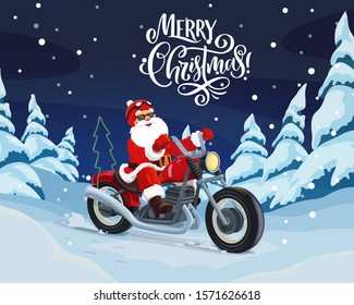Santa riding motorcycle vector design. Christmas Claus delivering Xmas and New Year gifts on motorbike through winter holiday forest and snowy pine trees greeting card with wishes of Merry Christmas
