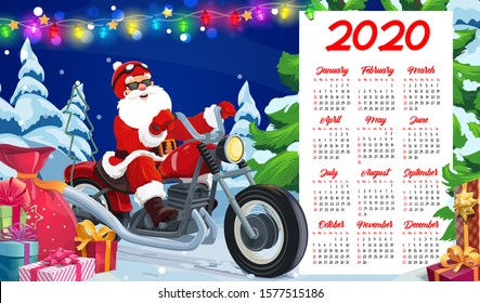 Santa riding motorcycle vector design of New Year calendar template. Santa Claus biker delivering Xmas gifts and presents on motorbike, Christmas tree and red bag with ribbons, bows and lights