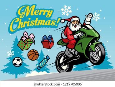 santa riding motorcycles