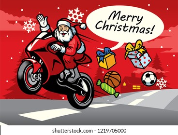 santa riding sport bike