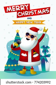Santa - rock star. Santa Claus Singing karaoke with Merry Christmas and Happy New Year inscription. Christmas tree and presents on background. Festive poster for party or Xmas greeting card. Vector