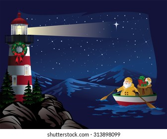 Santa rowing boat bringing gifts to lighthouse