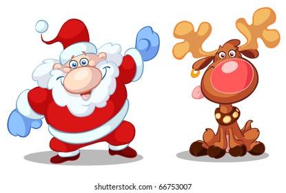 santa and rudolf having fun
