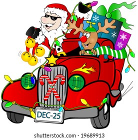Santa and Rudolf in a hot rod car with gifts.