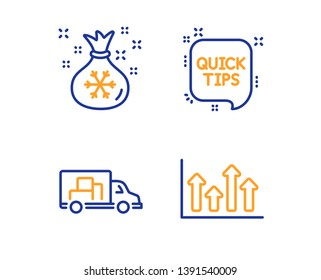 Santa sack, Quick tips and Truck transport icons simple set. Upper arrows sign. Gifts bag, Helpful tricks, Delivery. Growth infochart. Business set. Linear santa sack icon. Colorful design set. Vector