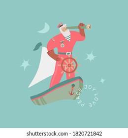Santa The Sailor creative Christmas card. Santa Claus in a sailor suit with spyglass on the boat. Vector seasonal concept