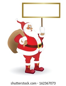 Santa with a sign in his hand. Vector image