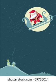 Santa in sleigh before parachute jump. Vector Separate. layers.
