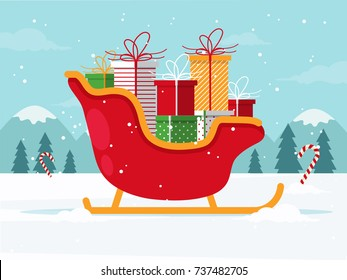 Santa Sleigh with Christmas Gifts. Flat Design Style.