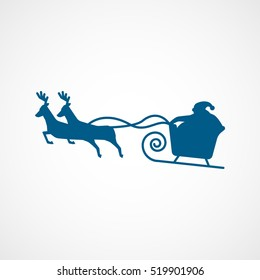 Santa Sleigh And Deer Christmas New Year Blue Flat Icon On White Background