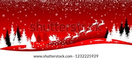 Santa Sleigh Deers Winter Landscape Forest Stock Vector
