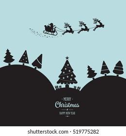 santa sleigh flying winter landscape night
