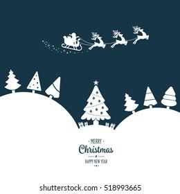 santa sleigh flying  winter white landscape