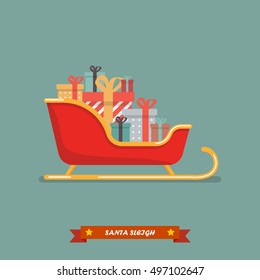 Santa sleigh with piles of presents. Vector illustration