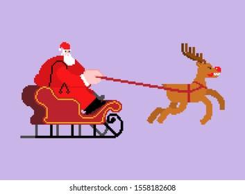 Santa in sleigh pixel art. 8 bit Christmas and New Year Vector Illustration