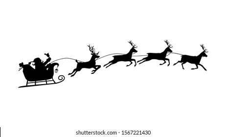 Santa sleigh and reindeer Christmas day