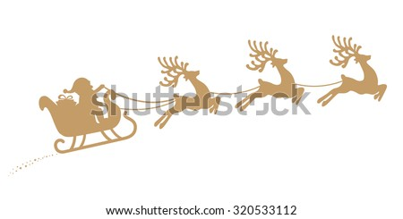Santa Sleigh Reindeer Flying Gold Silhouette