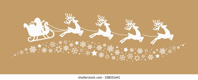santa sleigh reindeer flying snowflakes stars gold background
