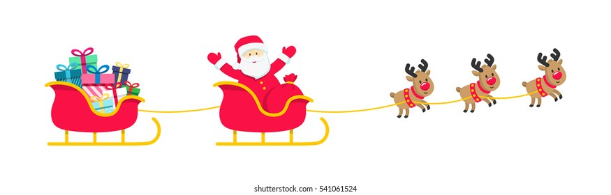 Santa, sleigh, reindeer, gifts isolated on white. Colorful Sled and presents icons. Flat cartoon vector illustration. Christmas card design for online shop, web site. Horizontal banner