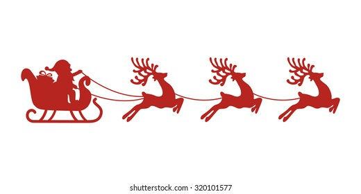 vector illustration santa flying sleigh reindeer stock vector