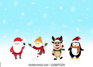 Santa snowman deer and penquin over snowy blue background - christmas greeting card celebration happy party new year holiday background concept