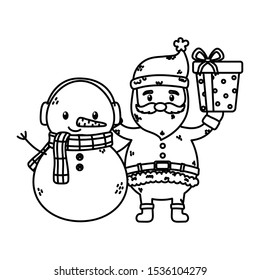 santa and snowman with gift celebration merry christmas vector illustration thick line