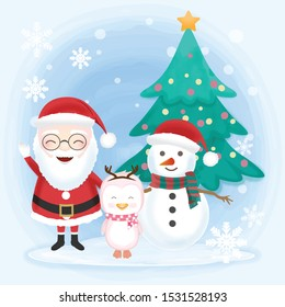 Santa with snowman and penguin hand drawn illustration, winter background