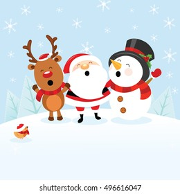 Santa With Snowman and Reindeer