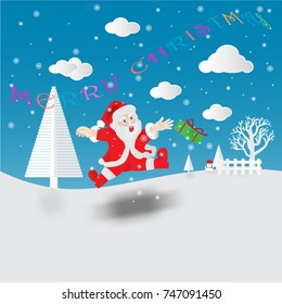 Santa and a snowman in a small village and the snow dipped in bright colors of sky.Text Merry Christmas. Concept Merry Christmas, seasoning, new year.