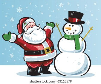 Santa and snowman in snow