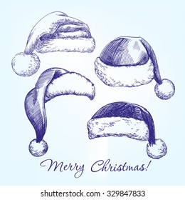 Santa stocking hat set hand drawn vector llustration  realistic  sketch