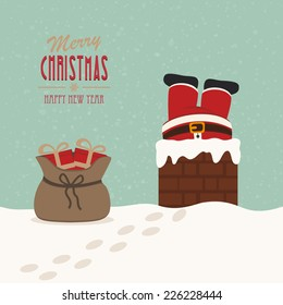 santa stuck in chimney gift bag snow background