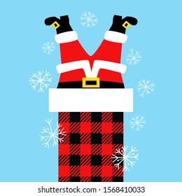 Santa Stuck in Chimney.Christmas vector illustration.