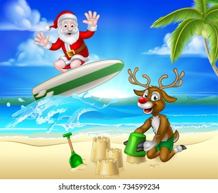 Santa surfing and reindeer having fun on the beach Christmas illustration