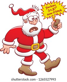 Santa surprised and getting in shock after looking at his smartphone. He has just received a new notification informing that he got an unimaginable number of new friends