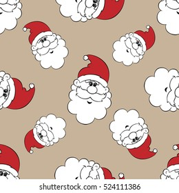 Santa vector set. Cartoon design. Hand drawn Santa, .Christmas characters on craft paper, Seamless pattern