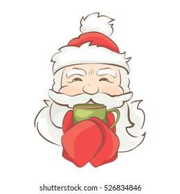 Santa warms / Vector christmas illustration, Santa drinking a hot drink