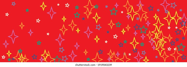 Santa White Horizontal Yellow Vivid Print Holiday Stars Ornament. Green Multicolor Violet Christmas Chaotic Bright Blue Background. Colorful New Year Stars Orange Red Vibrant Sky Wallpaper.