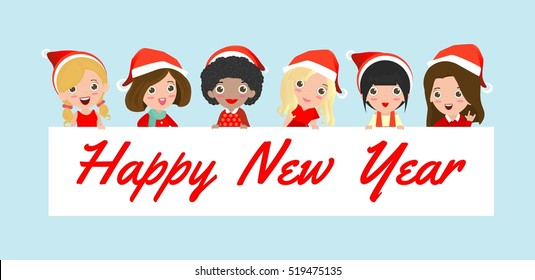 santa woman peeping behind placard, happy new year, Pretty girl in Christmas costume characters celebrate, Vector Illustration