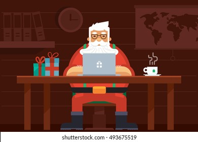 Santa Work space with Laptop, Gift Boxes, Tea, World Map, Shelf . Merry Christmas Night Greeting Card Design