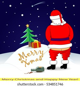 """Santa wrote the inscription on the snow """" Merry Xmas """". Drunk man in red costume peeing on the ground. Vector EPS-10 illustration."""