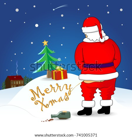santa wrote the inscription on the snow merry xmas merry christmas and happy - Who Wrote Blue Christmas