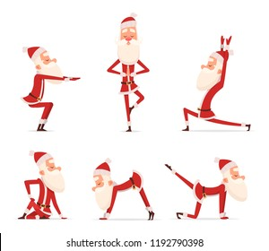 Santa yoga poses. Christmas winter holiday sport healthy character standing in various relax poses vector cute mascot isolated. Illustration of santa claus yoga