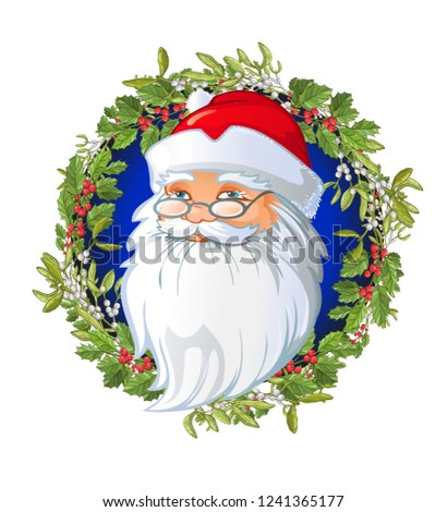Santas Cartoon Head On Christmas Wreath Stock Vector Royalty Free
