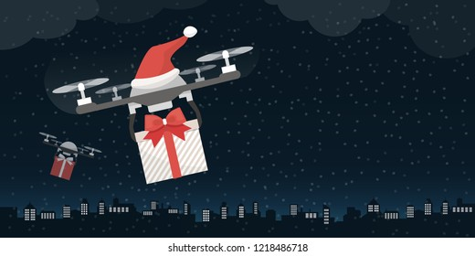 Santa's drones carrying gifts on Christmas eve in the city