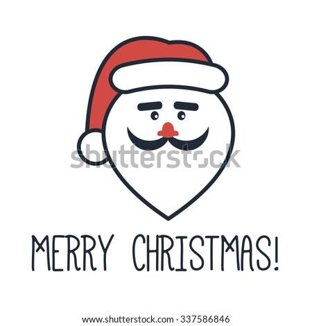 santas face words merry christmas stock vector royalty free