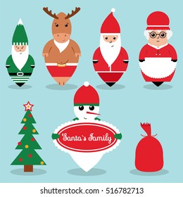 Santa`s family flat style christmas icons. Santa Claus deer dwarf Mrs. Claus and snowman isolated on blue background. Christmas characters flat design.